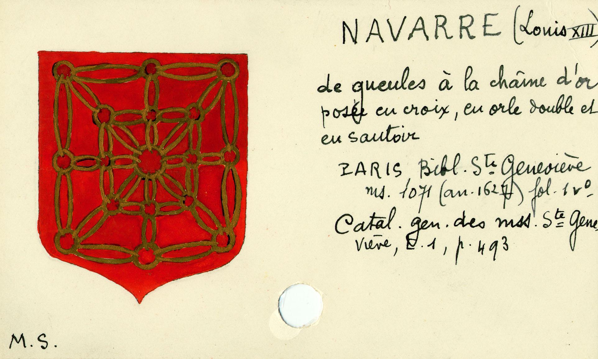 Bibale Paris Bsg 1071 F 01v Armoiries De Louis Xiii Roi De Navarre Provenance